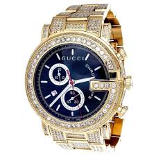 gucci watches for men. diamond gucci ya101334 watch 9.50 ct new custom mens 101 g gold pvd real 44 mm watches for men k