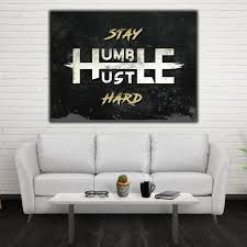 office wall art. Stay Humble Hustle Hard Motivational Inspirational Canvas Office Wall Art (Wooden Frame Ready To Hang)