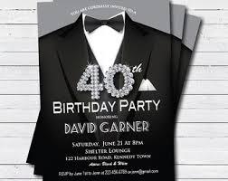Man 80th Birthday Invitation Black Tie And Suit Diamond Etsy