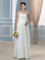 strapless beading empire waist chiffon pregnancy maternity wedding