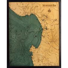 Monterey Bay Bathymetric Wood Chart
