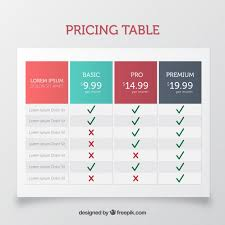 table graphic design. pricing table template in flat design free vector graphic r