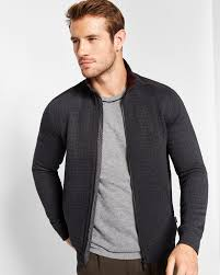 Quilted bomber jacket - Charcoal | Jackets and Coats | Ted Baker ROW &  Adamdwight.com