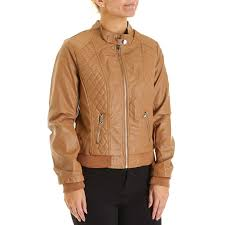 juniors quilted panels faux leather jacket