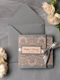 vintage wedding invitation kits ~ yaseen for Wedding Invitation Kits Coral vintage peach lace grey wedding invitation kits deer pearl flowers wedding invitation kits can insert picture