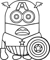 Small Picture Minion Captain America Coloring Page Wecoloringpage