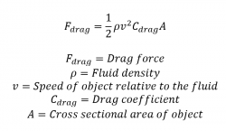drag force equation. note that if the velocity of object doubles, drag force is quadrupled. you should also keep in mind coefficient a dimensionless equation f
