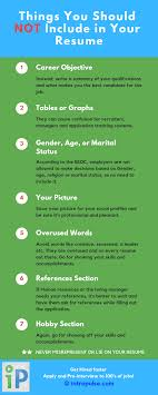 Things To Include In Your Resumes Things You Should Not Include In Your Resume Intropulse