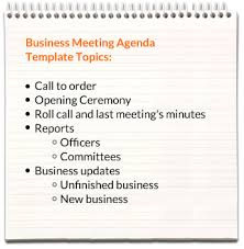 Templates For Meeting Agenda Business Meeting Agenda Templates