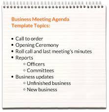 Business Agenda Business Meeting Agenda Templates