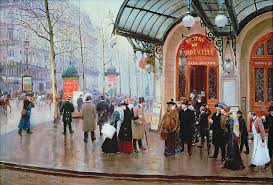 jean beraud painting outside the vaudeville theatre by jean beraud