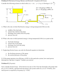 problem 1 mechanical energy balance and bernoullis equation 80 points consider the following
