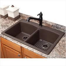 glamorous rectangle dark brown granite sink integrated black iron kitchen faucet plus cool marble granite countertop