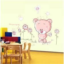 teddy bear wall decals plus removable cartoon bear wall sticker home decor nursery pink girl kid room baby teddy bear wall art for nursery gng