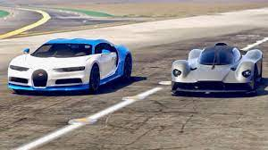 No list of supercars would be complete without some edition of the renowned bugatti veyron. Aston Martin Valkyrie Vs Bugatti Chiron Drag Race Youtube