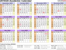 2020 Year At A Glance Calendar Template Academic Calendars 2019 2020 Free Printable Word Templates