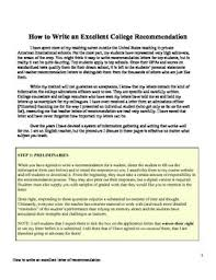 College Recommendation Letter For Student How To Write An Excellent College Recommendation Letter Student