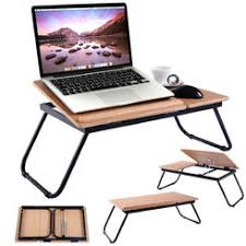 Goplus Adjustable Portable Laptop Desk Computer Notebook Folding Table  Stand Wood Tray