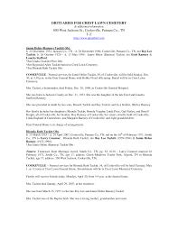 OBITUARIES FOR CREST LAWN CEMETERY 800 West Jackson St., Cookeville, Putnam  Co., TN T-Z