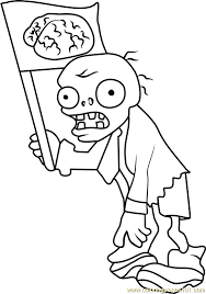 Zombie Coloring Pages Flag Page Free Plants Vs Zombies