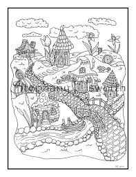 Free printable coloring pages for kids! Fairy Village 8 1 2 X 11 Printable Instant Download Coloring Etsy