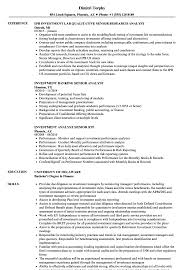 Sample Resume For Investment Banking Analyst Investment Analyst Senior Resume Samples Velvet Jobs 60