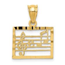 Gold Kt Chart Amazon Com 14k Musical Chart Charm 14 Kt Yellow Gold Jewelry