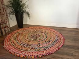handmade round vintage braided rug jute cotton reversible area rug 3 90 cm for