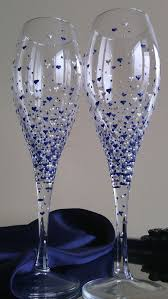 10 champagne wine glasses hand painted in pearly blue