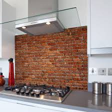old red brick wall printed kitchen