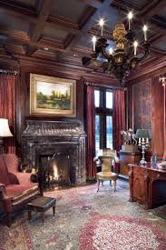 office paneling. Formal Home Office With Antique English Desk, Cherry Wood Paneling And Coffered Ceiling, Period Decor Fine Art Of A Luxury Traditional Manor In P