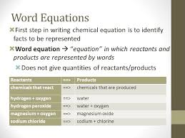15 word equations first step in writing chemical