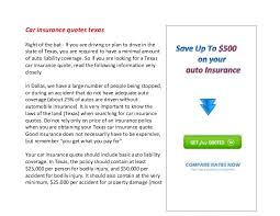 Insurance Quotes Texas Impressive Car Insurance Quotes Texas