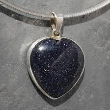 blue goldstone heart pendant