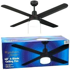 ceiling fan without light house with 4 metal blades and kit l inch 48 white opt