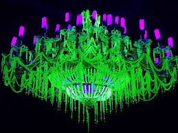 biennial glow in the dark neon chandelier