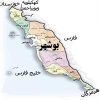 نتیجه تصویری برای نقشه استان بوشهر