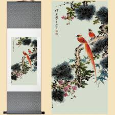 silk chinese watercolor flower birds double luck ink original art feng s canvas wall damask picture framed scroll painting in painting calligraphy