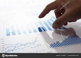 Hand Reflection Chart Touching Growth Chart Reviewing Accounting Data Stock