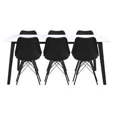 Essgruppe Esstisch Weiß Mit 6 Stühlen Schwarz Malte Nimarahomede