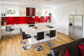 White Kitchen With Red Accents Black And White Kitchen With Red Accents House Decor