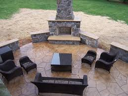 Simple Stamped Concrete Patio With Fireplace Stone Job By Interscope Contractors Innovation Ideas