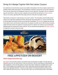 Dining On A Budget Together With Red Lobster Coupons By James