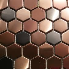 Copper Backsplash Kitchen 11sf Hexagon Mosaic Tile Copper Rose Gold Black Stainless Steel
