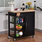 Costway 4 Tier Rolling Wood Kitchen Trolley Cart Island Storage Cabinet  Shelf Drawer