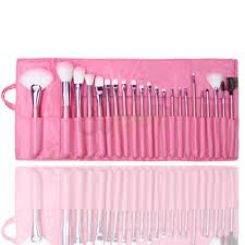 22pcs cosmetic make up makeup brushes brush set kit goat hair leather case ebay