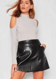 kira black faux leather pocket a line mini skirt 1