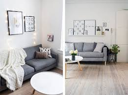 Scandinavian living room with grey sofa - Top 10 tips for adding  Scandinavian style to your