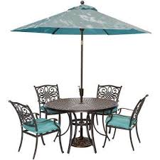 traditions 5 piece outdoor round patio dining set and umbrella and base with