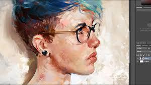 Digital Portrait Painting Blue Hair Painting A Digital Portrait In Photoshop Youtube